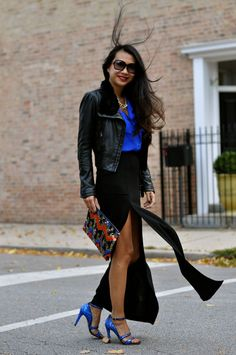 BCBG double slit skirt - leather jacket and silk cobalt shirt - Miu Miu shoes