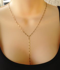 14k Gold Filled Lariat  or Y Necklace