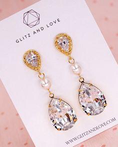 Swarovski Crystal Teardrop Gold Earrings, Bridal jewelry, Bridesmaid bridal shower gifts, gifts for her, wedding earrings, pearl earrings, www.glitzandlove.com