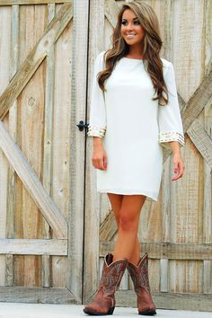 Ark & Co. Love You Like That Dress: Cream, cowgirl boots
