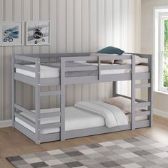 Low Wood Twin Bunk Bed in Grey - Walker Edison BWJRTOTGYProvide your kids with easy access to their sleeping space with this low twin bunk bed. Making it simple for your kids to climb into each bunk with ease, due to its low floor design. Perfect for smal Bed Plans, Low Loft Beds, Bed Design, Bed, Furniture, Bed With Drawers, Trundle Bed, Twin Bunk Beds