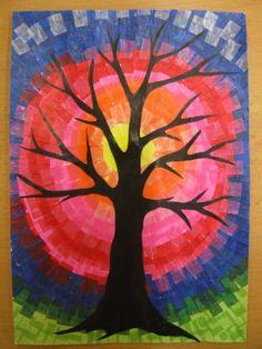 Strom - práce s hedvábným papírem Tree Of Life, Collage, Fall, Winter, Wood Work, Painting, Puzzles, Art Ideas, Art