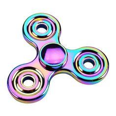 GLOW IN THE DARK Rainbow Brass Tri Spinner Fidget