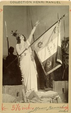 French opera star Marthe Chenal sings Marseillaise during World War I in Alsace, France, November 1917.Photograph by Harriet Chalmers Adams,...