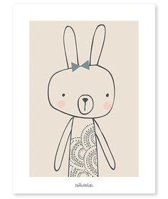 Blanche het konijntje - Poster | Girly | Gras onder je voeten | Lilipinso | Paper & Cloth | Baby en Kinderkamer