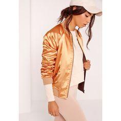 Missguided Premium Satin Bomber Jacket Gold ($72) ❤ liked on Polyvore featuring outerwear, jackets, champagne, blouson jacket, flight jacket, sports jacket, zip jacket and sport jacket