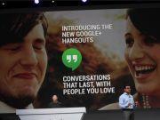 O Google apresentou uma nova interface para o Google+, bem como novas ferramentas para o Hangouts com acesso a histórico de chats e aplicativo independente. Mas, o Hangouts ainda irá ganhar integração com SMS.