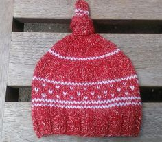 christmas red hat red knit beanie top knot hat by UniqueKnitDesign