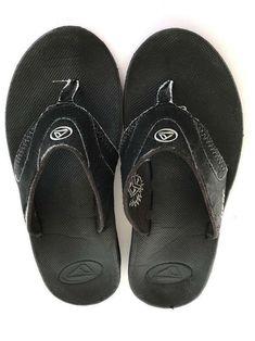e470681ede7f Mens Reef Fanning Black Sandal Flip Flops Size 10 M Bottle Cap Opener #Reef  #