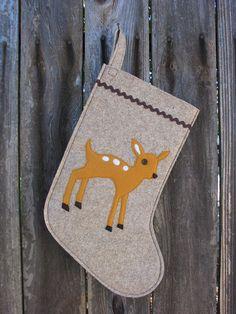 Christmas Stocking Woodland Baby Deer Fawn made of wool felt wool ecofelt