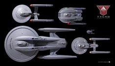 Starships Hood, Repulse, Endurance, Sentinel and Tauriel at Tycho yard. Spaceship Concept, Concept Ships, Essex Class, Trek Deck, Star Trek Models, Star Trek Posters, Starfleet Ships, Star Trek Characters, Sci Fi Ships