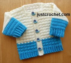 Free baby crochet pattern boys cardigan usa ~ fits baby 3-6 mos. ~ FREE - CROCHET