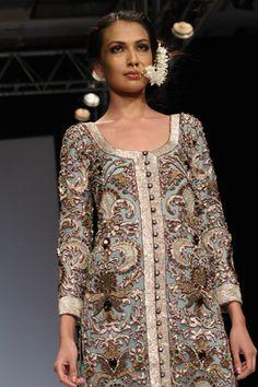 Pale Blue Tulle Sherwani and 'Pita Kora' Embroidery worn with Purple Satin Churidaar. SHOP THIS LOOK: http://www.payalsinghal.com/search/taj-sherwani