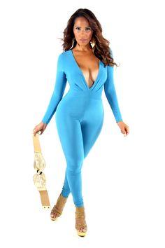 Blue Plunge V-Neck Long Sleeves Full Length Bodysuit