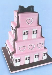 4 tier gift box cake decorated with Hearts & Bow- tutorial