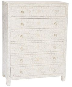 White Bone Inlay 6-Drawer Chest 120x90x45