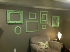Frame Wall with Ashley Moman, complete, might put a chalk board behind one frame to put quotes and verses on.