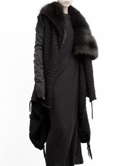 Rick Owens Palais Royal Fur Collar Chunky Knit & Leather Sweater Coat US 6 IT 40