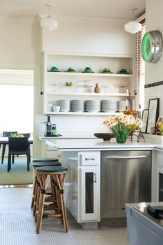 small, monochromatic kitchen