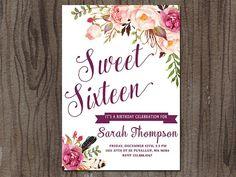 Sweet 16 Invitation Sweet Sixteen Invitation por SunnyDaysCreation
