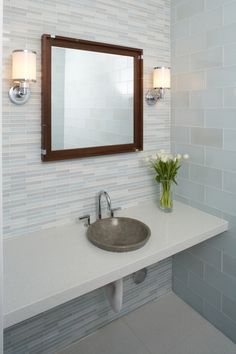 Bathroom, : Contemporary Bathroom Decoration Design Ideas With Round Grey Granite Bathroom Sink Along With White Glass Tile Bathroom Wall And White Wall Bathroom Vanity Patterned Bathroom Tiles, Modern Bathroom Design, Beautiful Tile Bathroom, Bathroom Wall Tile Design, Modern Bathroom Design Tile, Contemporary Bathroom Designs, Bathroom Backsplash, Bathroom Design, Beautiful Bathrooms