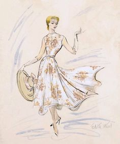 Edith Head's sketch of a costume for Grace Kelly in Rear Window.