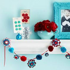 flower and pom pom garland
