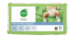Seventh Generation Free and Clear Baby Diapers, Newborn, 36 Count (Pack of 4) by Seventh Generation, http://www.amazon.com/dp/B004KQ9JYS/ref=cm_sw_r_pi_dp_Y9.vqb1TC5D9M