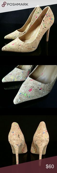 Steven Madden Cork Pumps 7.5 Comes with box. Worn once, excellent condition. Heel about 4.25 inches. Steve Madden Shoes Heels
