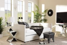Baxton Studio Frank White Button-Tufting Sofa Twin Daybed w/ Roll-Out Trundle