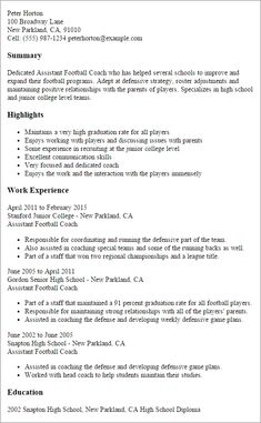 Professional Assistant Football Coach Templates Showcase In 2020 Resume Coach School Coach Resume