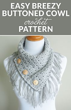 The Easy Breezy Buttoned Cowl is so easy to make and works up quickly. If you're looking for a simple crochet project that looks great with just about any outfit, this project is perfect for you. #crochetpattern #crochetaddict #crochetgift #crochetlove #crochetcowl #moderncrochet #alpacayarn #sharethecrochetlove