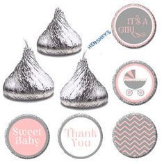 Items similar to Candy Sticker Label, Its A Girl Baby Shower Hershey Kiss Label, Pink Gray Candy Favor Label Tags, Elegant Baby Shower Favors Candy on Etsy Kisses Candy, Hershey Kisses, Baby Shower Candy, Baby Shower Favors, Boy Shower, Baby Shower Gifts For Guests, Candy Labels, Elegant Baby Shower, Birthday Candy