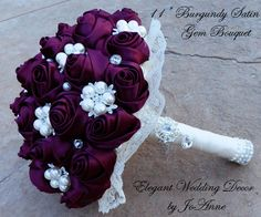 If I was to re-marry, I would so do a bouquet idea like this one: CUSTOM Satin brooch Bouquet  DEPOSIT for  by Elegantweddingdecor, $125.00