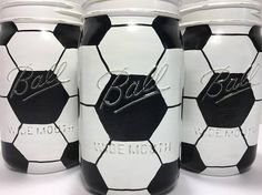Hand Painted Soccer Ball Mason Jars Set of 3 Quart Soccer