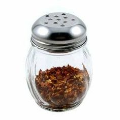 """Grated Cheese or Red Pepper Glass Shaker by KegWorks. $1.89. Dishwasher safe.. Metal screw on top.. Classic glass design with stainless steel cap.. Dimensions: 2 1/2""""W x 3 1/2""""H.. Capacity: 2 oz.. From pasta to salad to chicken and more, Parmesan cheese is a delicious accent to just about any meal. These durable swirled glass shakers are dishwasher safe and hold 6-ounces of grated cheese or crushed red pepper. The stainless steel cap has holes big enough for crushed reds, but ..."""
