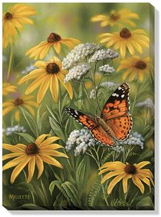 Art   Wrapped Canvas Art Painted Lady Butterfly by Rosemary Millette