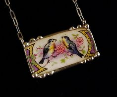 Broken china jewelry necklace antique bluebird china by dishfunctionldesigns