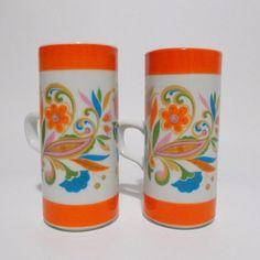 2 Royal Crown Arnart Psychodelic Paisley Flowers Vintage 70's Tall Cups #RoyalCrownArnart #PopArt