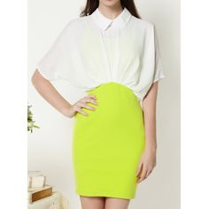 Vintage Turn-Down Collar Color Block Dress For Women