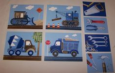 8 construction trucks busy builder boys nursery art prints vehicles and tools on Etsy, $25.00