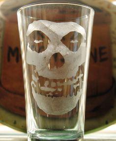 The Misfits Fiend Skull Etched Pint Glass by WhiteLightningXXX, $16.00 fiend club, punk