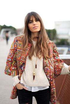 bohemian gypsy embroidered and embellished open coat jacket - i love the multi-colored patterned print all-over