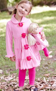 Clothes for AMERICAN GIRL DOLL, Pink Rosette Tiered Fleece Coat & Doll Coat - Girls