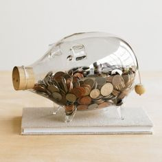 Glass Pig Bank by Roost Pig Bank, Cute Blankets, Money Bank, Cute Piggies, This Little Piggy, Design Blogs, Canning, Ebay, Toys