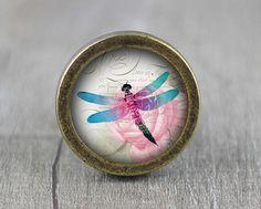 Dragonfly  Handmade Vintage Bronze Dresser knobs by jade4wood