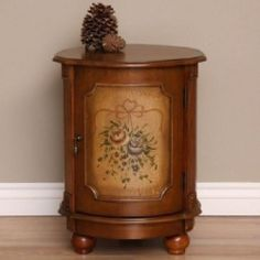 Hand Painted Floral Drum Shape Storage End Table Contemporary Stain Wood Finish