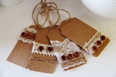 Set of 4 Rustic Lace Gift Tags  Wedding Tags by thelittlebundle, $8.50 #masonjar #tags #countrygifttag