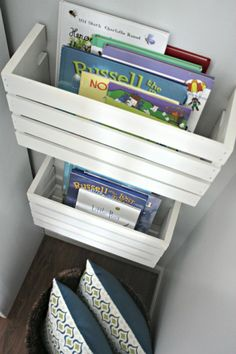 Clever Toy Storage Solutions --milk crates cut in half for self-contained shelving