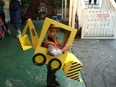 DIY Halloween Digger costume idea. Made this for my nephew and was a big hit! Cardboard boxes, spray paint, tape, glue and you're set to go!